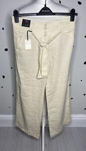 """New Look 10 BNWT Wide Leg Cream Linen Trousers 32"""" Long Casual Summer Light"""