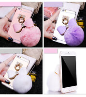 Soft Glitter Bling Plush Mirror Pom Pom Ball Back Case Cover Apple iPhone 6 7 8+