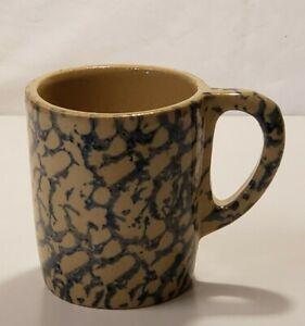 "Robinson-Ransbottom COFFEE MUG 4 1/8"" Spongeware Blue Roseville Pottery RARE"