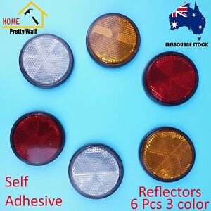 6pc Round Reflector Red Amber White Marker Truck Car Trailer Self Adhesive 3 pai