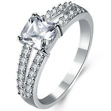 Size 4-11 Rhodium White Gold Plated Princess Cut Wedding Engagement Ring  Bridal