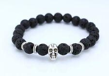 Élastique pierre de lave argent crâne bracelet / bracelet / 22cm / 8,5 pouces / boho / 8mm perles