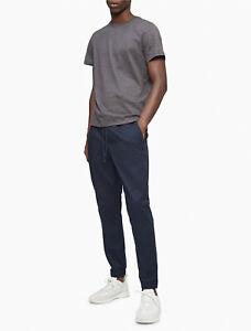 Calvin Klein Men's Stretch Slim Chino Pants Drawstring Waist Joggers Navy S