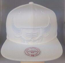 Chiago Bulls White on White Cropped XL Logo Snapback Hat Cap by Mitchell & Ness