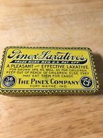 Vintage Pinex Laxatives tin, 36 tablets 25 cents! great colors & graphics
