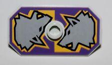 Lego Castle Dark Purple Rectangular Danju Shield Wolf Pattern