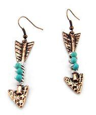 Western Jewelry Arrowhead Earrings Copper Tone Turquoise