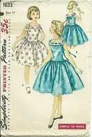 S 1633 sewing pattern 50's pretty DRESS sleeves or sleeveless sew girl's size 14