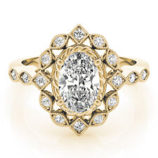 Diamond Engagement Ring 14k Yellow Gold Forever One Oval Moissanite Swing Halo