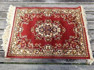 TIZNIT ART SILK RED PERSIAN THIN TRADITIONAL FLOOR RUG 80cm x 50cm NEW