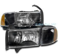 99 00 01 DODGE RAM 1500 SPORT PICKUP TRUCK HEADLIGHT W/CORNER TURN SIGNAL BLACK