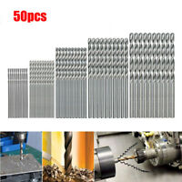 50Pcs Titanium Coated HSS High Speed Steel Drill Bit Set Tool 1/1.5/2/2.5/3mmA