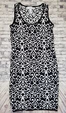 Carmen Marc Valvo Black & White Sleeveless Knit Fitted Dress Size M -a5