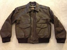 Men's Brown Guide Gear Leather Bomber Flight Jacket (M) NC5