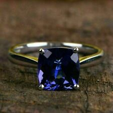 950 Platinum 2.50Ct Cushion Cut Gorgeous Blue Sapphire Engagement & Wedding Ring