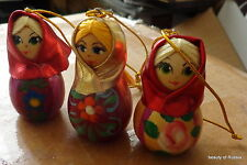 set of 3 Russian hand painted girls in scarves wood ornament 2.5 inches #2