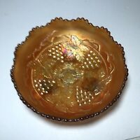 Fenton Grape and Cable Carnival Glass Marigold ICE Bowl Three Ball feet Vintage