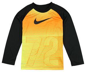 NIKE Kid's Dri-FIT 72 Gradient Long Sleeve Shirt sz 4 (Ages 3-4) Orange Yellow