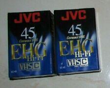 2 X Qualité JVC EC-45 EHG Hi-Fi Compact VHS / Cassettes neuves, scellées