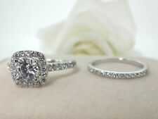 2.00 Carat Round Cut Diamond Engagement Band Set 14K White Gold Rings Size O P