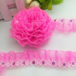 Lace Ribbon Gathered 25mm Wide Floral Lace Crafts Sequins Stars Fuchsia Pink