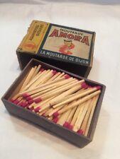 VINTAGE FRENCH MATCH BOX WITH CONTENTS MOUTARDE AMORA LA MOUTARDE DE DIJON