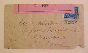MOZAMBIQUE  LM BOER WAR BACKSTAMP NATAL CENSORED COVER