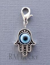 Hamsa Clip On Charm Dangle. Fit Link Chain, Floating locket necklace c117