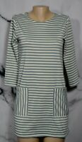 ABERCROMBIE & FITCH Gray Ivory Striped Short Dress Small 3/4 Sleeves Pockets