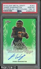 2018 Leaf Metal Draft Green Prismatic James Washington RC Rookie AUTO 5/5 PSA 10