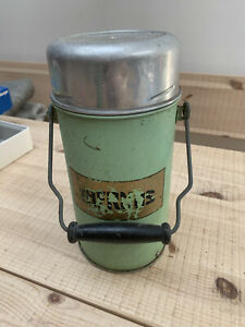 VINTAGE THERMOS FLASK 1940'S/50's GREEN METAL WOODEN CARRY HANDLE TV FILM PROP