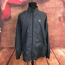 Adidas Mens Full Zip Gray Red Nylon Heavy Rain Windbreaker Jacket XL