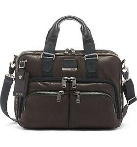 TUMI Men Albany Alpha Bravo Slim Commuter Briefcase Bag Dark Brown MSRP $650