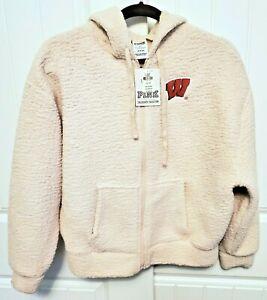 Victoria's Secret PINK XS Collegiate WISCONSIN Campus Sherpa Full Zip Hoodie $89