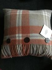 New With Tags UGG Down Pillow Glacier Plaid Spice Multi With Fringe