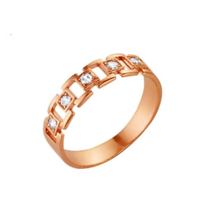 RUSSIAN LAB DIAMONDS 14k ROSE GOLD FILLED SILVER 925 SQUARE CHAIN BAND RING 7.5