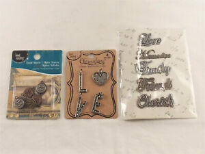 """3 PACKS OF """"WORDS"""" & """"NUMBERS"""", ASSORTED- FOR JEWELRY & CRAFTING- NEW"""
