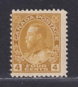 Canada Scott 110 1922 MNH 4¢ Olive Bister KGV Admiral Dry Printing SCV $120