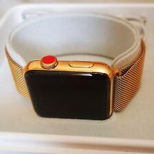 24k Gold Plated 42MM Series 3 Apple Watch Stainless Steel Milanese Loop 24ct