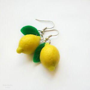 Lemon Drop Earrings Yellow Fruit Hypoallergenic Stainless Steel Citrus Jewelry