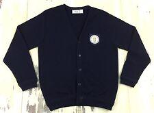 KEY HONOR SOCIETY - Vtg High School Navy Blue Grunge Cardigan Sweater, MEDIUM