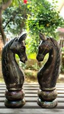 Wood Horse Head Bust Pair Old Hand Made Pained Carved Unique Collectible Home