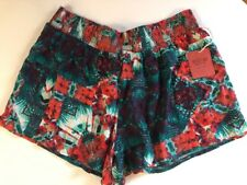 Mossimo Shorts Sz XXL Stretch Waist Floral Printed Shorts Green/ Red Womens