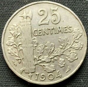 25 Centimes Coin 1904 France VF +    World Coin nickel    #K900