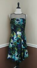 Modcloth Dress 12 Blue Green Floral Pleated Cocktail Pockets Astonishment $149