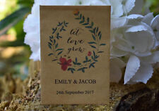 50 Wedding Personalised Seed Favours | Let Love Grow Seed Packets (with seeds)