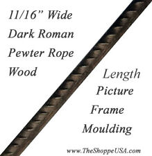 """16' 5/8"""" Wide Roman Pewter Rope Wood Picture Frame Moulding"""
