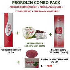 PSOROLIN OINTMENT + PESIN CAPSULES + 777 OIL COMBO PACK + FREE psorolin soap