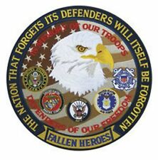"""FALLEN HEROES DEFENDERS OF FREEDOM 5"""" Circle sew on high quality EMBLEM GIFT?"""