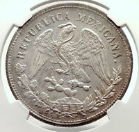 1902 ZS FZ MEXICO BIG Silver 1 Peso Antique Mexican Coin Eagle NGC MS 62 i71727